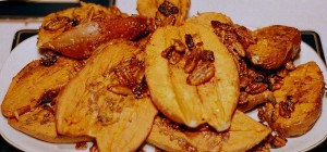 Barbequed Sweet Potatoes with Spicy Walnuts